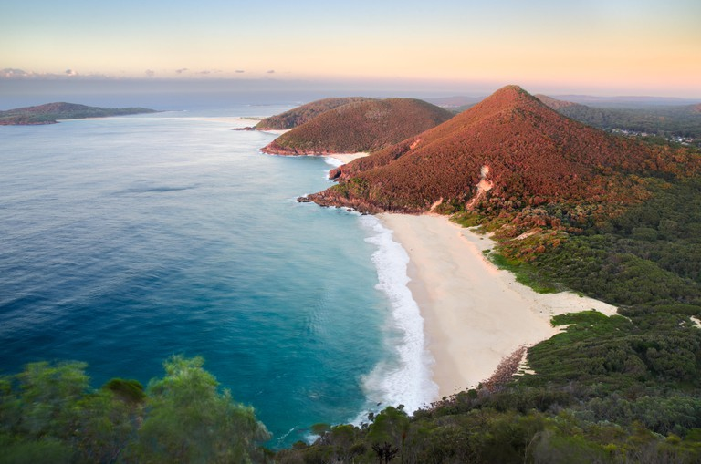 Sunrise from the look on Mount Tomaree in Port Stephens, NSW, Australia.