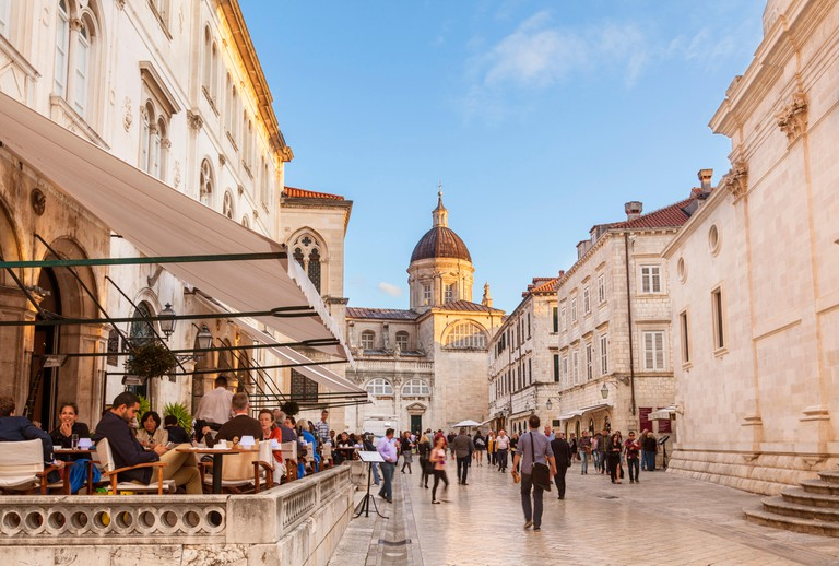 Croatia Dubrovnik Croatia Dalmatian coast Gradska kavana Arsenal Restaurant dubrovnik cafe old town tourists evening dining dubrovnik  croatia cafe