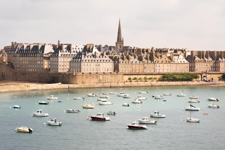 The historic walled town and harbour, St. Malo ( Saint Malo ), Brittany France Europe,