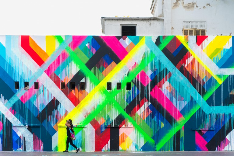 A colourful wall in Rabat