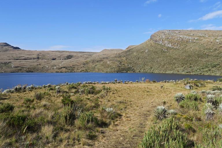 view over upland lake  Sumapaz National Park; Bogota; Colombia     November