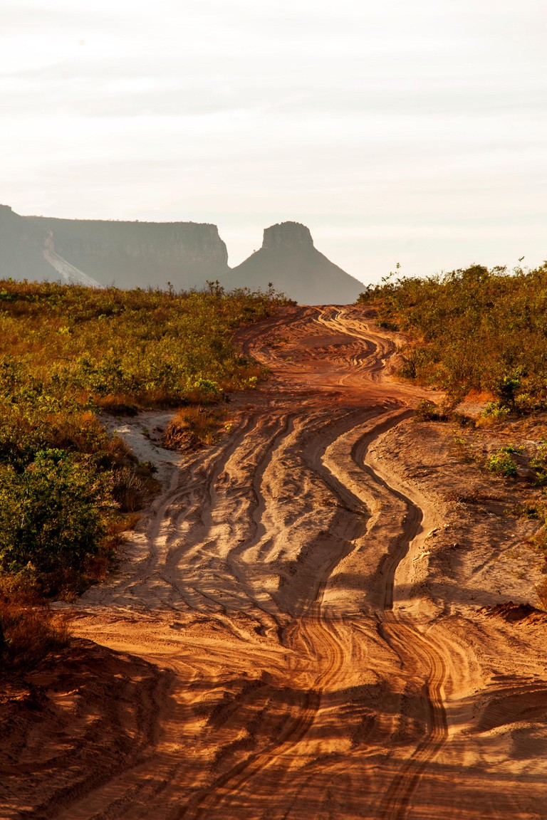 Tipycal sandy tracks crossing the Jalapao Estadual Park, Tocantins State, Brazil
