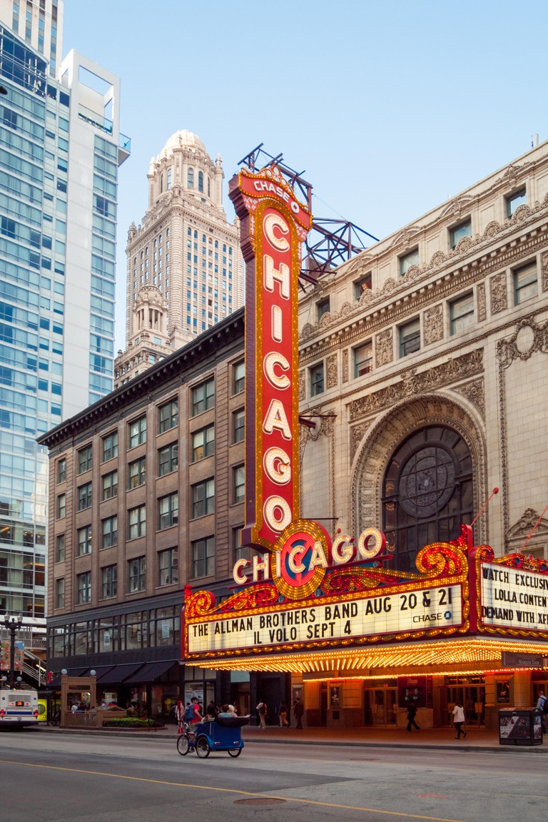 The distinctive, iconic Chicago Theatre in Chicago, Illinois.