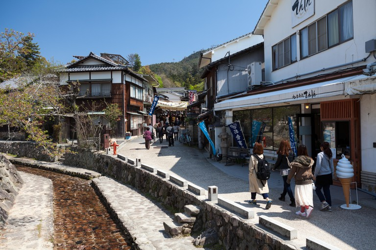 The Omotesando shopping street is the main place in Miyajima for shops and restaurants