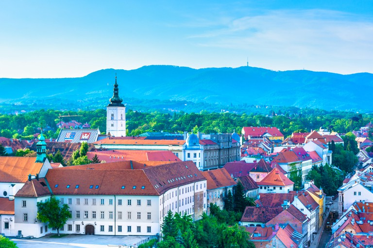 Aerial view at Zagreb city and upper town landmarks in Croatia, Europe.