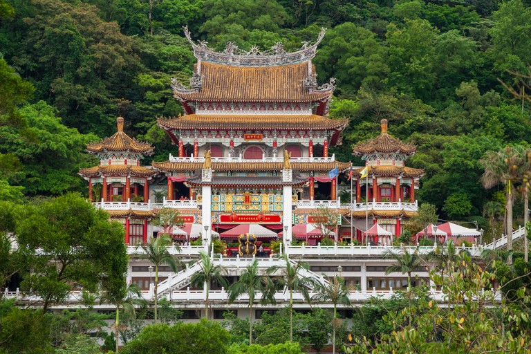 Lingxiao Chapel which belongs to the Zhinan Temple on the slopes of Houshan, Taipei