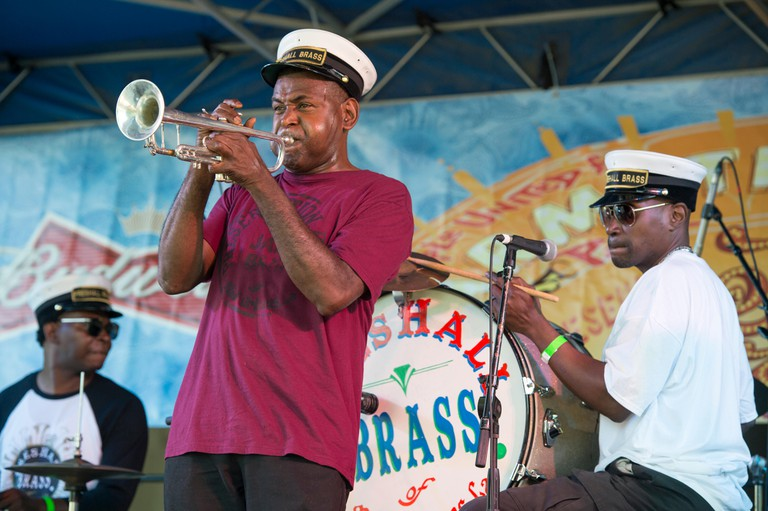 United States, Louisiana, New Orleans, the preservation hall jazz band playing in the Armstrong Park