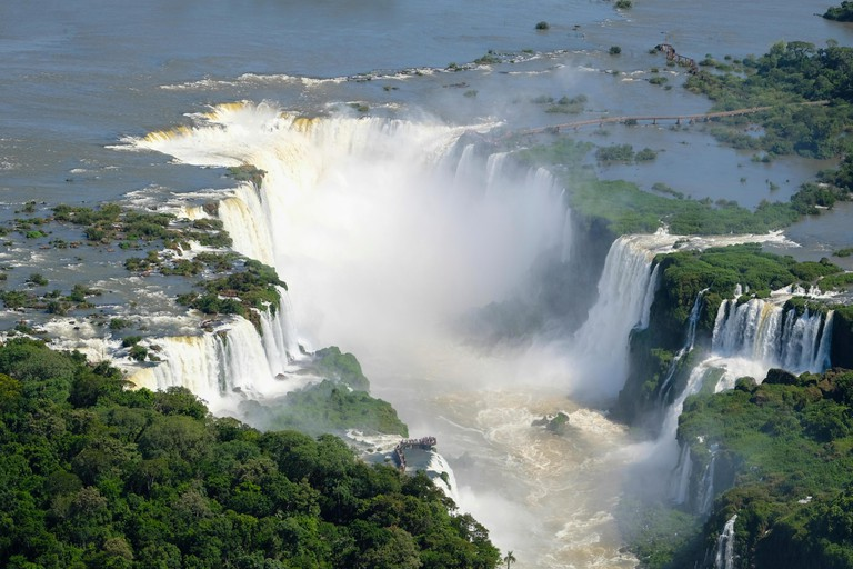 Aerial view of the Devil's Throat or Garganta del Diablo at Iguassu (Iguacu / Iguazu) falls on the border of Argentina and Brazil