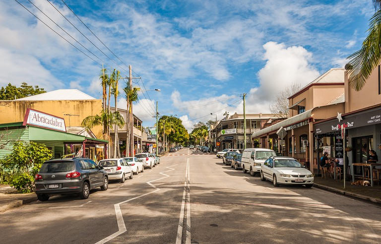 Byron street, the main thoroughfare of Bangalow, New South Wales, Australia, looking west from the corner of Station Lane.