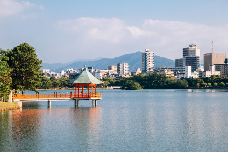 Lake and gazebo at Ohori park in Fukuoka, Japan