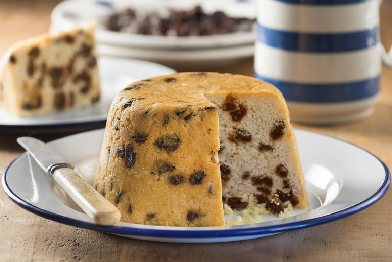 Spotted Dick. Steamed fruit pudding. UK Food