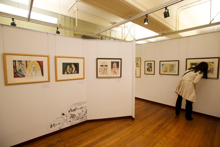 An exhibition of a manga artist's work on display at the Kyoto International Manga Museum