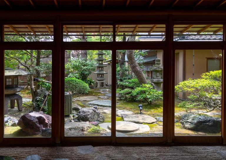 Japanese garden in a Ryokan in Kanazawa, Japan.