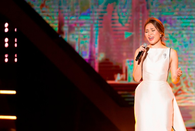 Vietnamese pop star My Tam performing