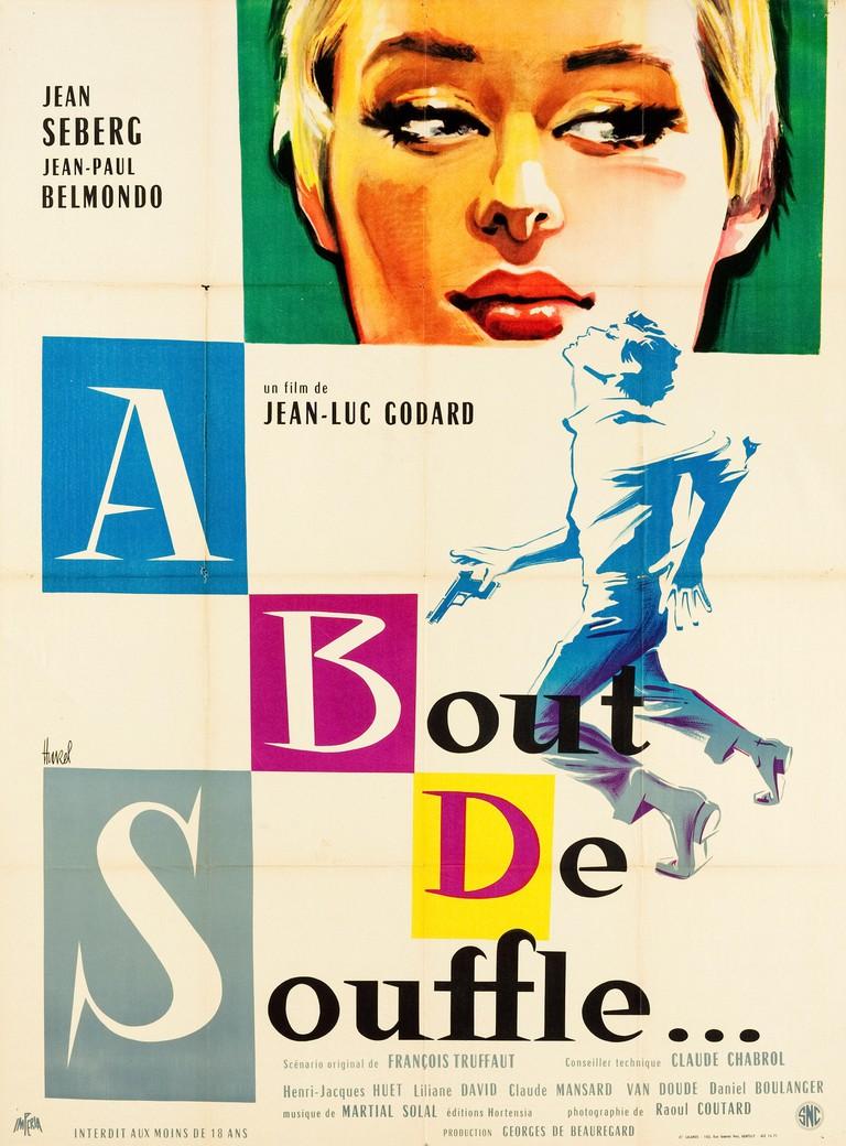 """Jean Seberg, Jean-Paul Belmondo,  Breathless aka """"A bout de souffle"""" (Les Films Imperia, 1960). French Poster  File Reference # 33595_556THA"""