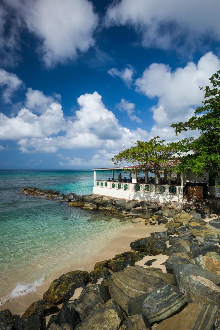 Apple Bay waterfront and Sugar Mill Hotel Restaurant, British Virgin Islands, Tortola.