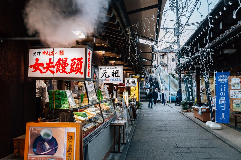 Food stalls in Kamakura, Japan.
