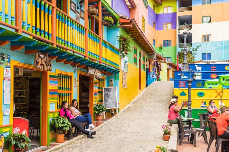 A colourful street scene in Guatape, Colombia, South America