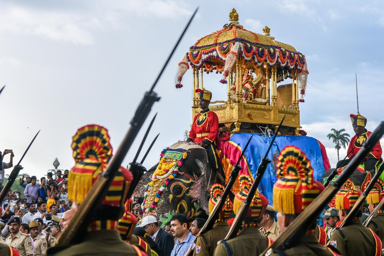 Indian police parade in traditional uniform for Mysore Dussehra celebration or Dasara festival procession at the Mysore king in Karnataka India