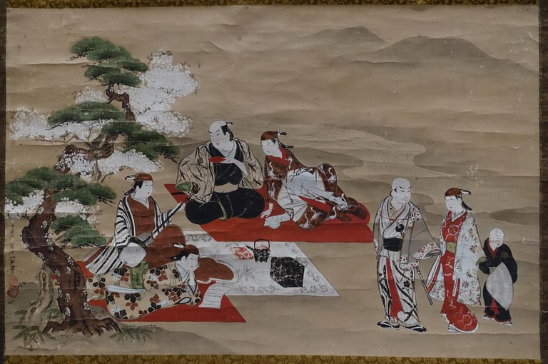 Actor Viewing Cherry Blossoms, by Miyagawa Issho, Edo period, 1700s AD, colour on paper at Ishikawa Prefectural Museum of Traditional Arts and Crafts