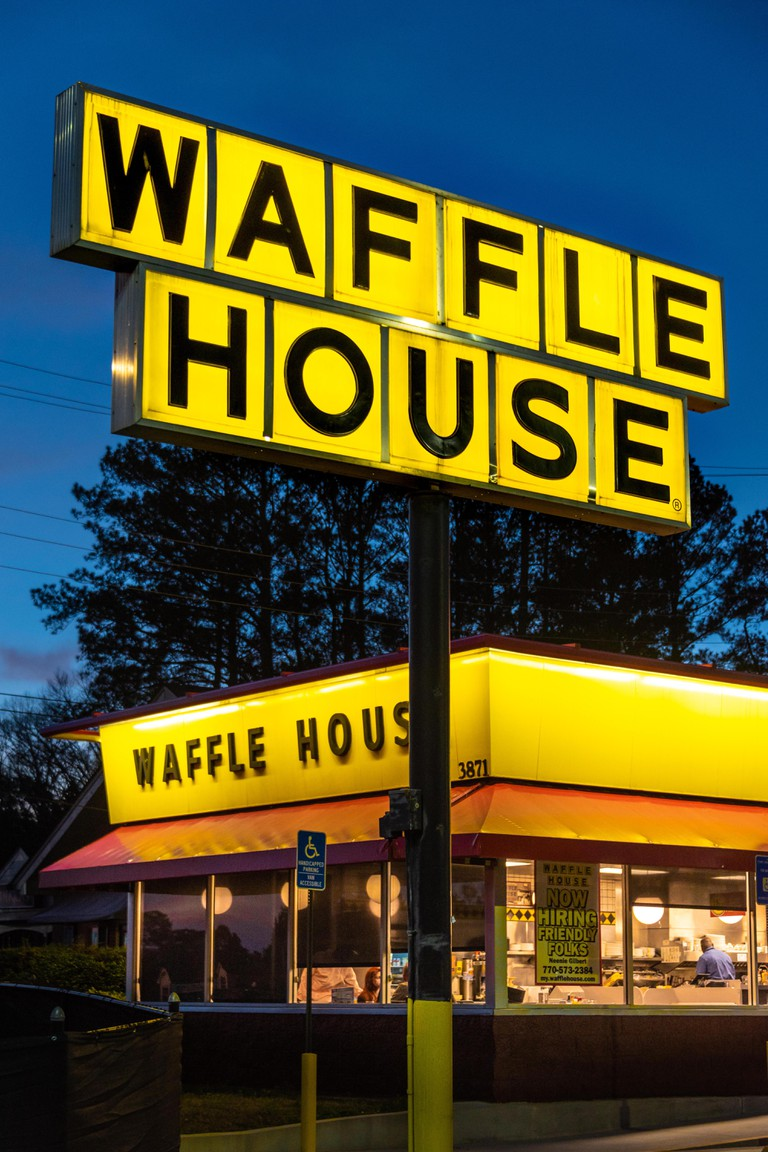 Waffle House restaurant in Snellville, Georgia. The 24 hour Waffle House restaurant chain is a cultural icon in the American South. (USA)