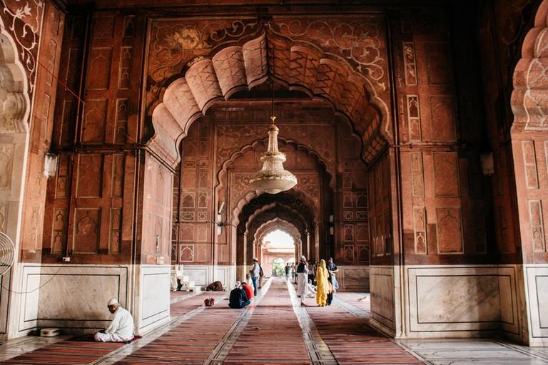 People praying at the Jama Masjid