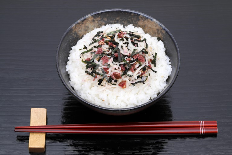 Japanese Shirasu and umeboshi on cooked white rice