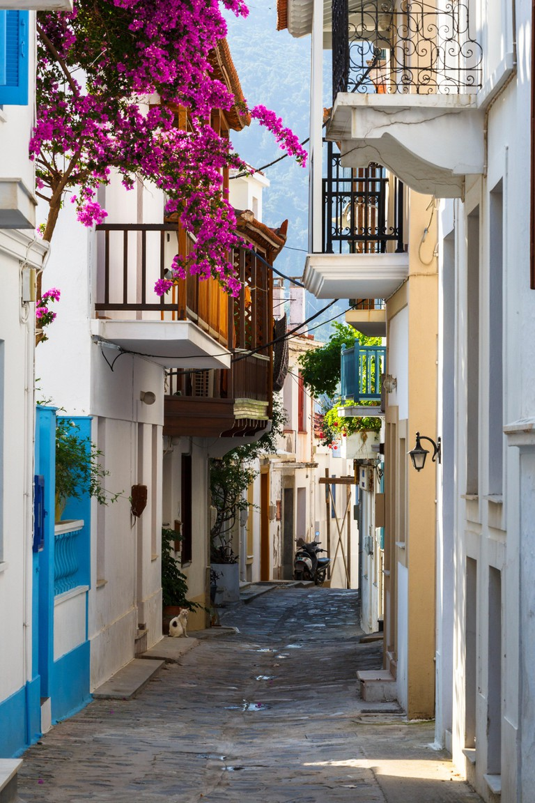 Street in the old town of Skopelos