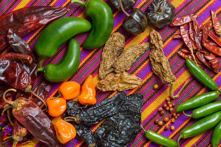 Chile peppers of Mexico, food ingredients and spices.