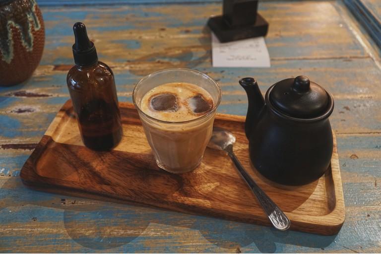 Latte at cafe in Kuala Lumpur