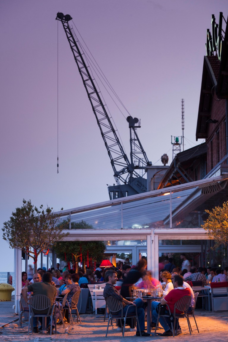 Greece, Central Macedonia Region, Thessaloniki, Ferry Pier, view of the Kitchen Bar
