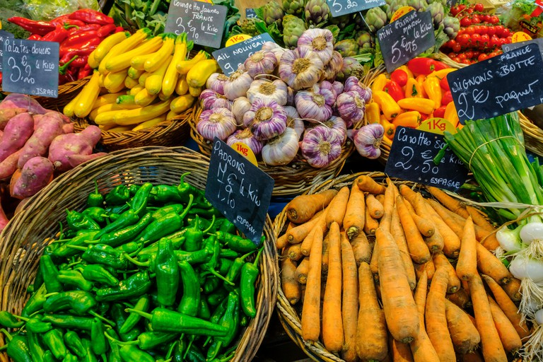 Vegetables for sale at Marche des Capucins
