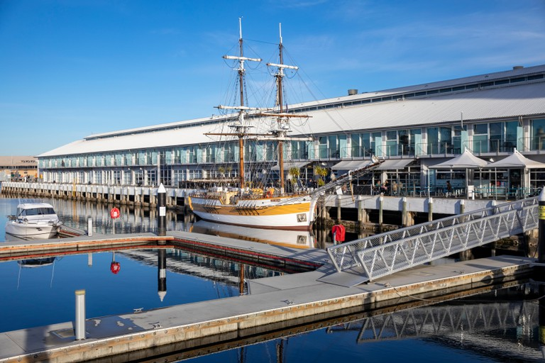 Replica tall ship Lady Nelson in Hobart harbour