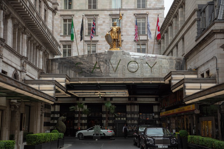 The entrance to the Savoy Hotel in the Strand