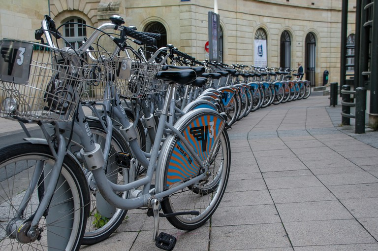 Bicycle rental stand in Bordeaux