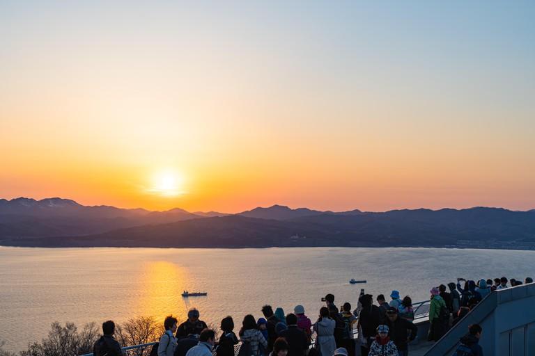 Sunset time in Mt. Hakodate ( Hakodate-yama ) observation deck.