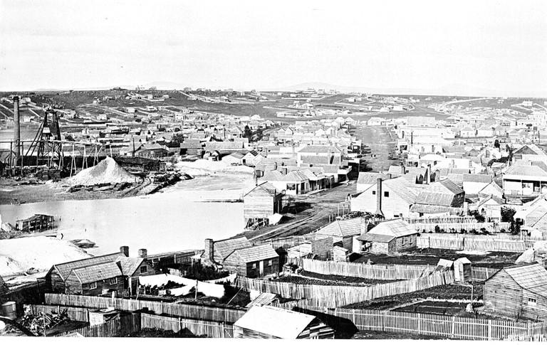 Negative - View of Township, Clunes, Victoria, circa 1885, Clunes