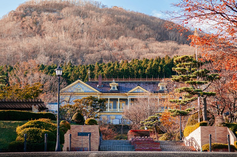 Colourful Old Hakodate Public Hall with Mount Hakodate in background