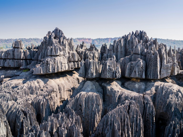 Stunning view of karst limestone formations in Tsingy de Bemaraha National Park, Madagascar