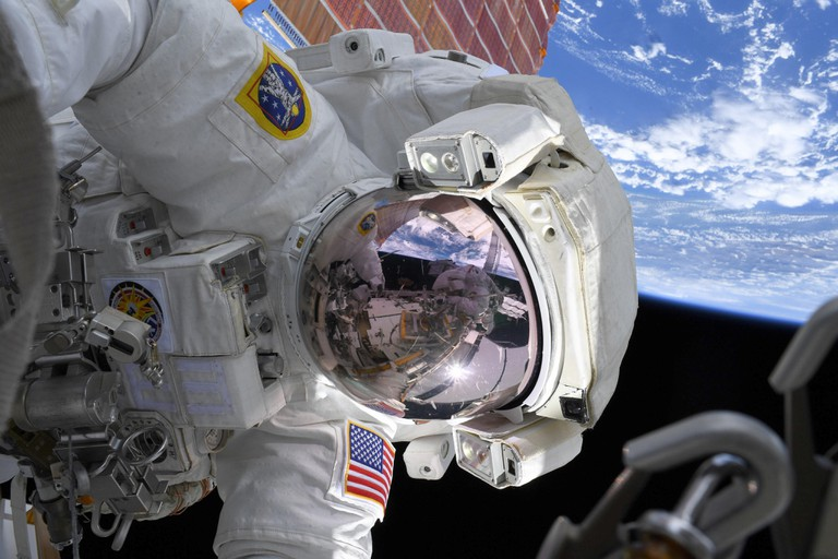 Astronaut Christina Koch during a spacewalk