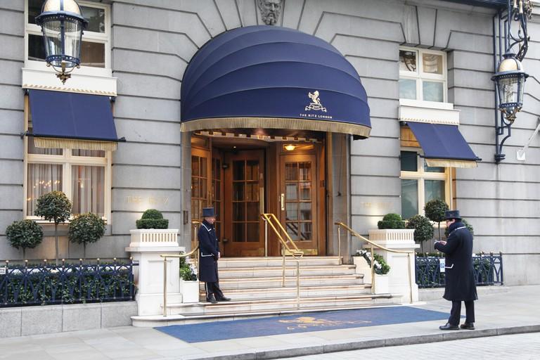 Entrance to The Ritz Hotel on Arlington Street, Mayfair, London