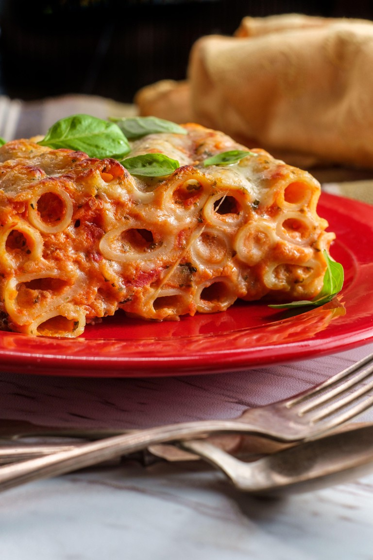 Italian-American cuisine baked ziti lasagna with mozzarella cheese