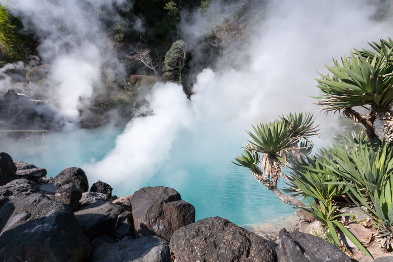 Hot spring (Jigoku), multi-colored volcanic pool of boiling water in Kannawa district in Beppu, Japan.