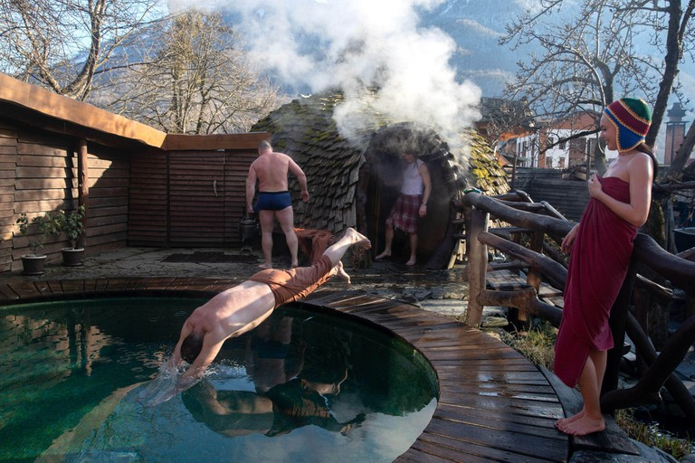 SOCHI, RUSSIA - JANUARY 15, 2020: People at the British Banya bathhouse in Krasnaya Polyana. Dmitry Feoktistov/TASS
