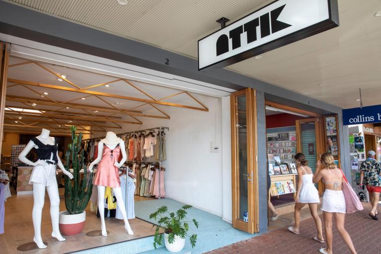 Attik clothing store shopfront, Byron Bay,Australia on a summers day