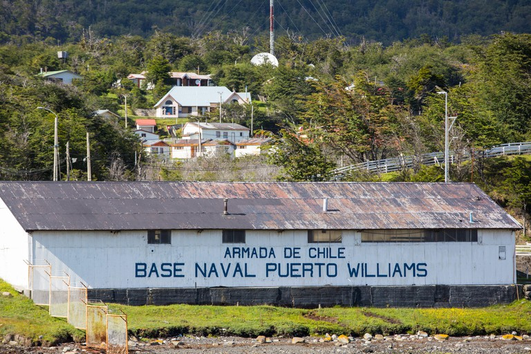 The naval base in Puerto Williams on Navarino Island, Chile, the most southerly town in the world