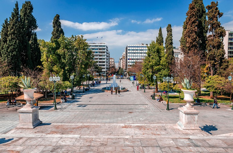 Syntagmatos Square, in Athens, one of the most popular tourist destination is practically empty of people, due to the fear of coronavirus infection.