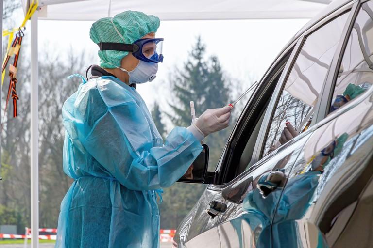 Nurse on a coronavirus test station in Germany