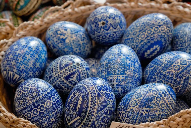 Painted egg shells in a souvenir shop. Sibiu, Romania