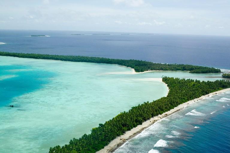 Funafuti island, Tuvalu from the air, Pacific ocean